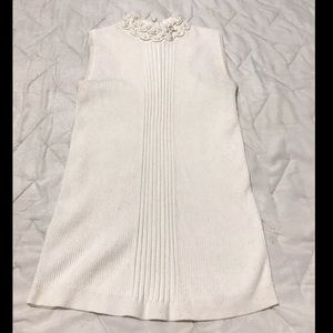 White Sleeveless Top with ruffle neckline